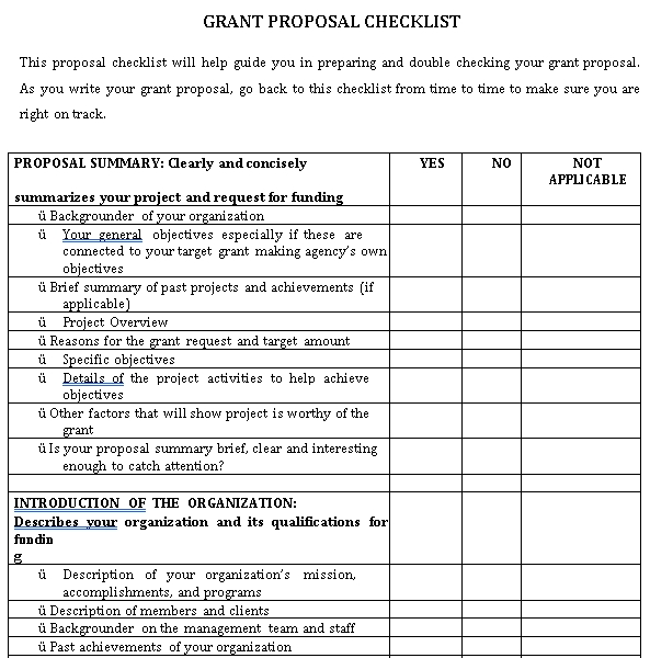 Grant Proposal Checklist Template