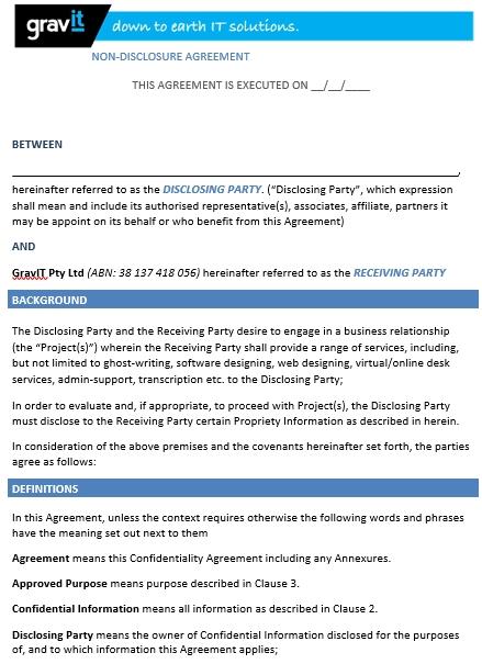 GravIT Non Disclosure Agreement