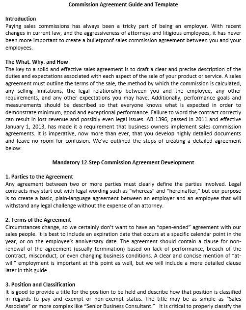 Guideline for Commission Agreement Template