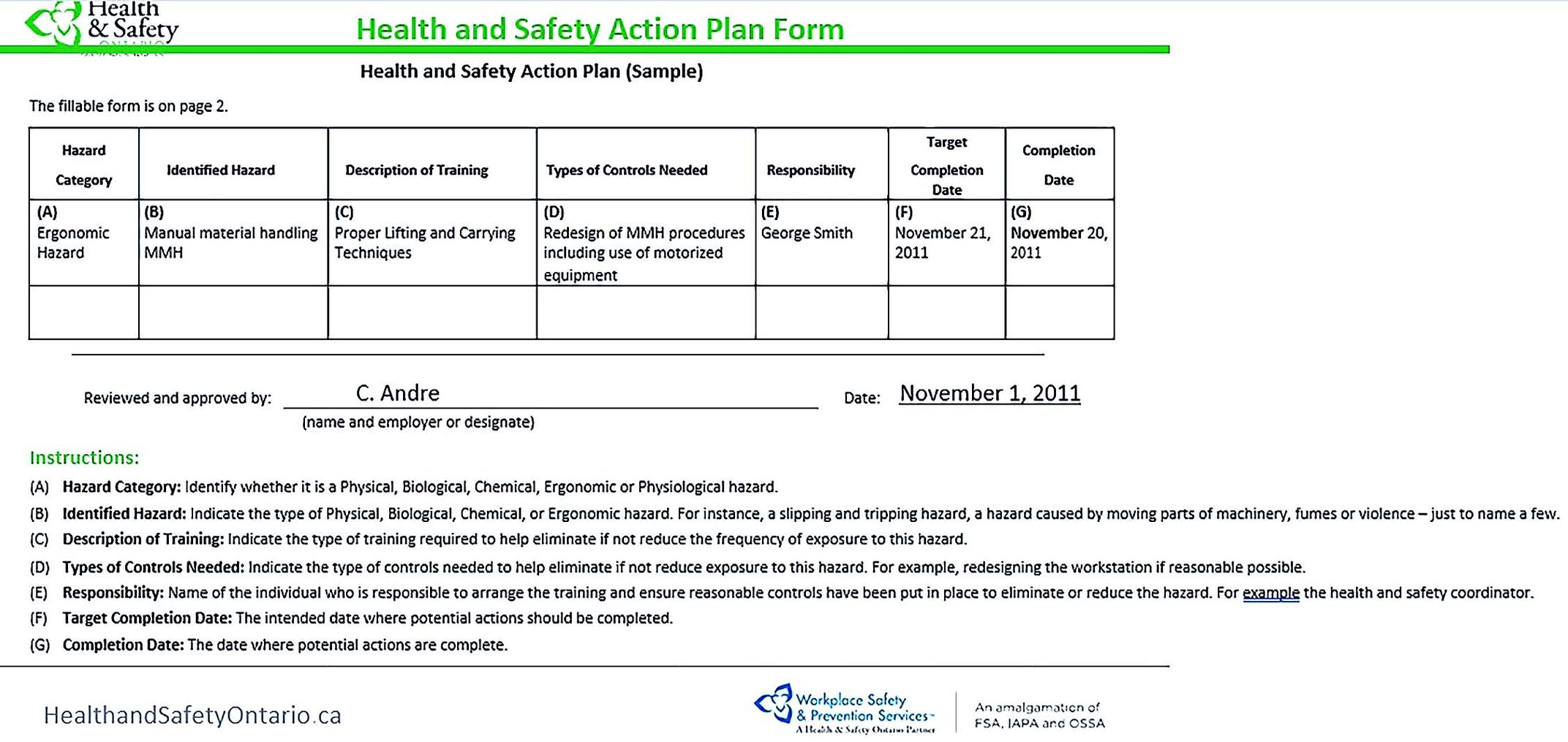 HealtH and Safety Action Plan Form