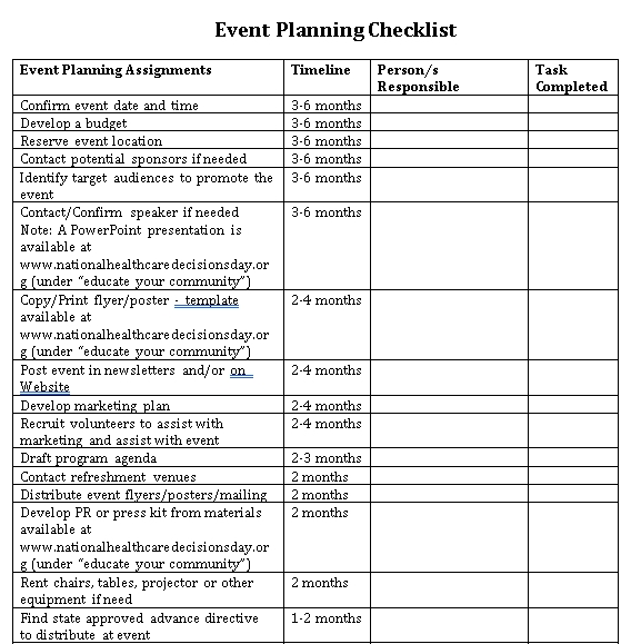 Healthcare Event Planning Checklist