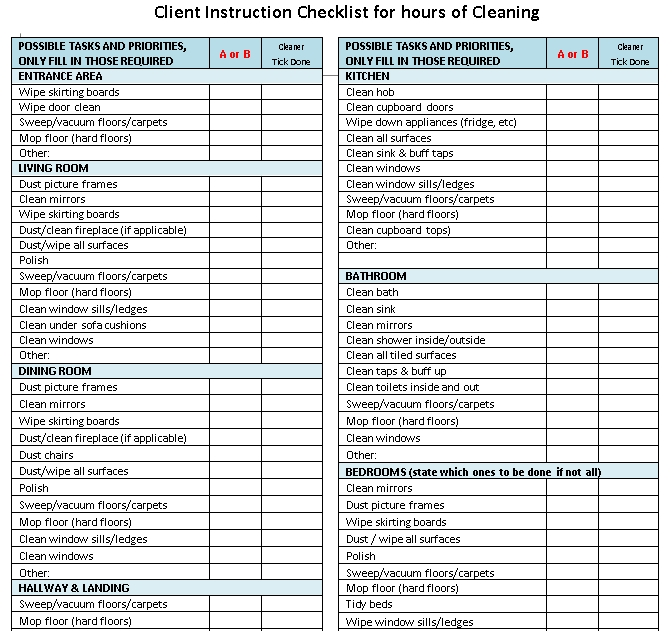 House Cleaning Client Instruction Checklist