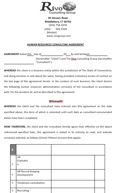 Hr Consulting Agreement Template