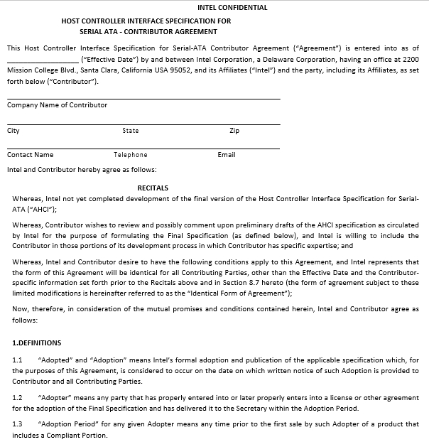 Intel Contribution Agreement Template