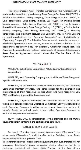Intercompany Asset Transfer Agreement