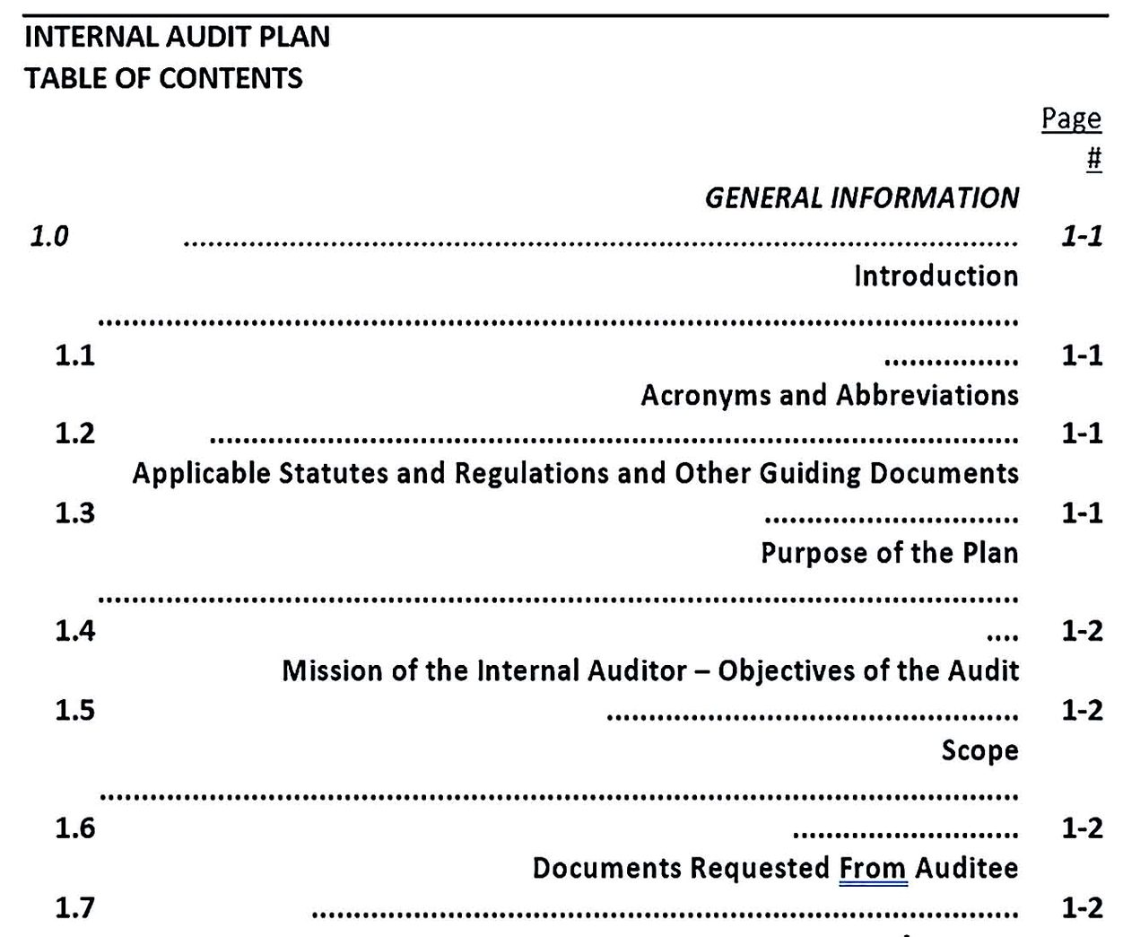 Internal Audit Plan Template