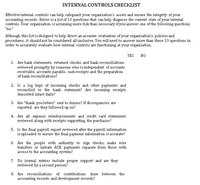 Internal Control Checklist Template For Organization