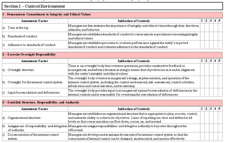 Internal Control Self Assessment Checklist Template