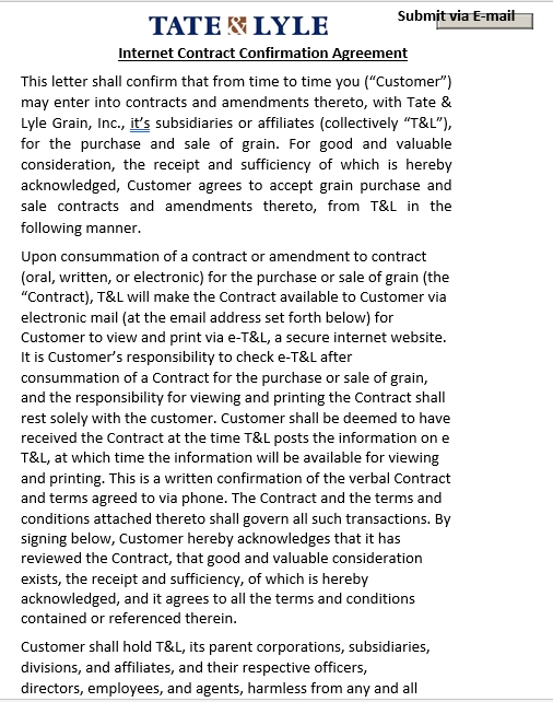 Internet Contract Confirmation Agreement