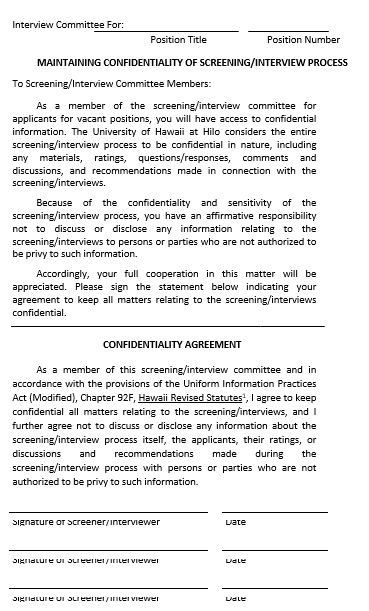 Interview Confidentiality Agreement Template