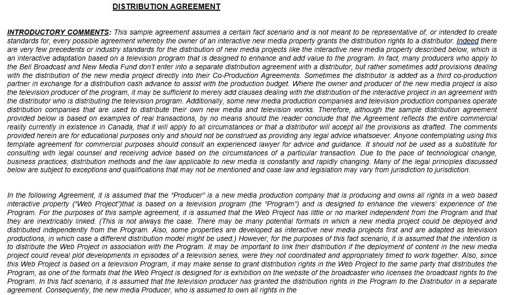 Introductory Distributor Agreement Template