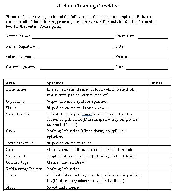 Kitchen Checklist Template 2