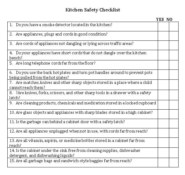 Kitchen Checklist Template 7