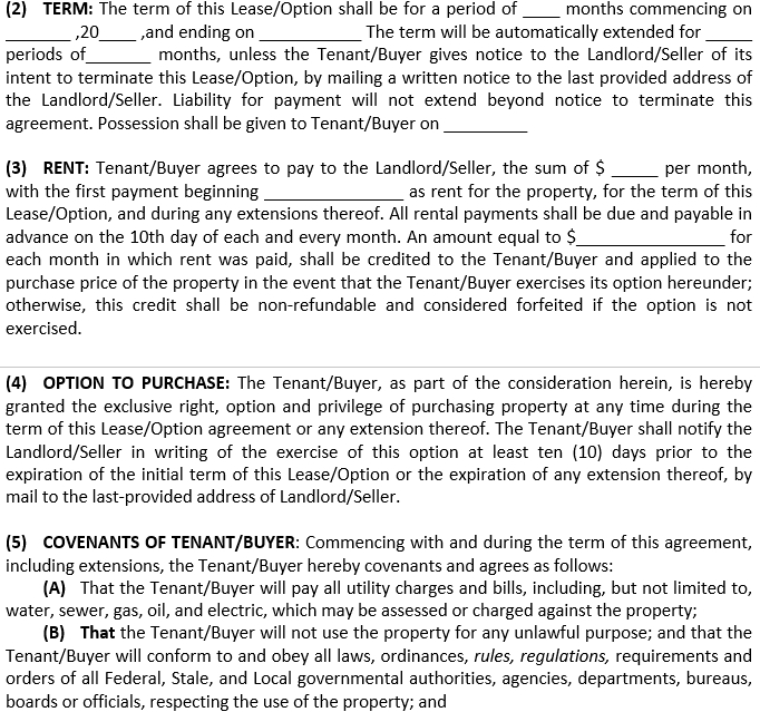 Lease Agreement with Option to Purchase Real Estate