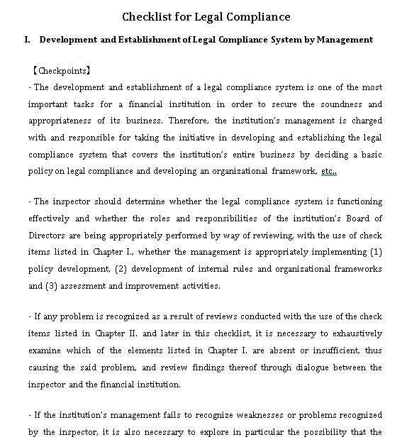 Legal Compliance Checklist Template