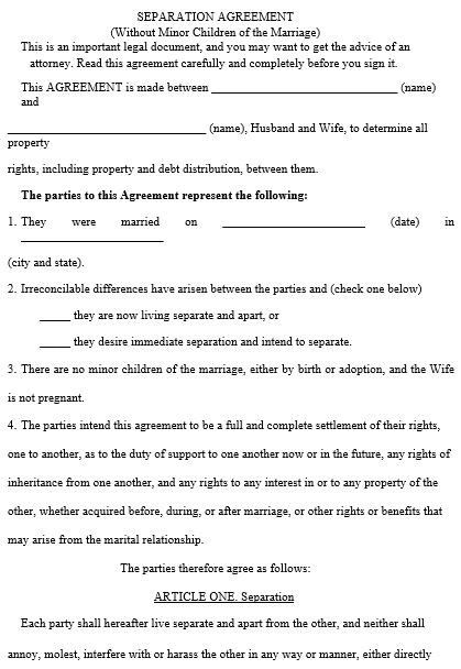 Legal Separation Agreement