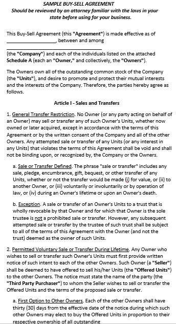 Legalised Buy Sell Agreement