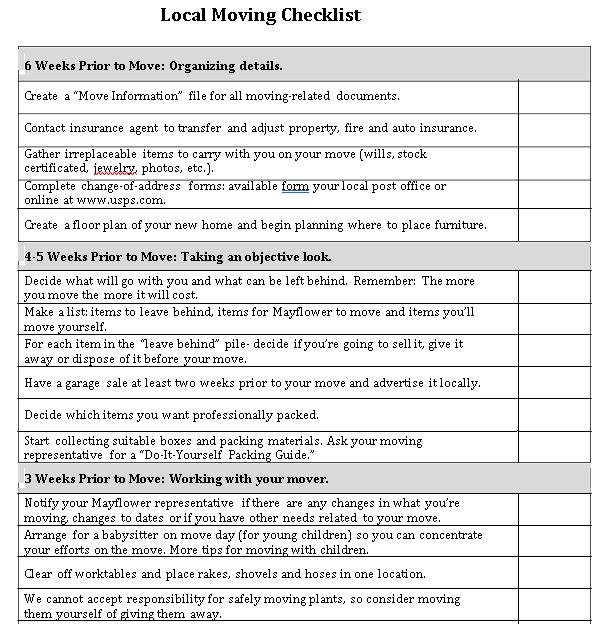 Local Moving Checklist Template