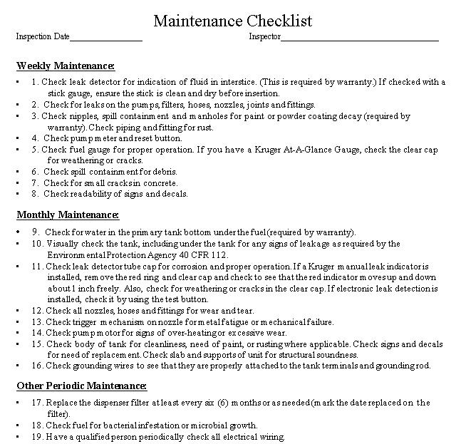 Maintenance Checklist Example.
