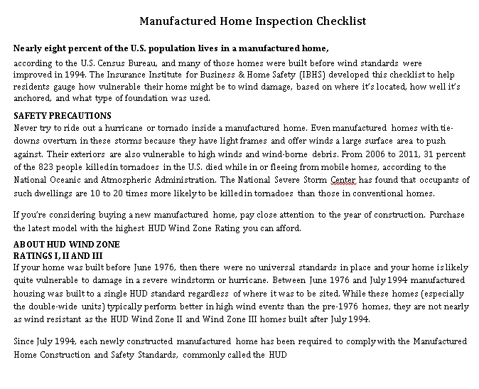 Manufactured Home Inspection Checklist Template