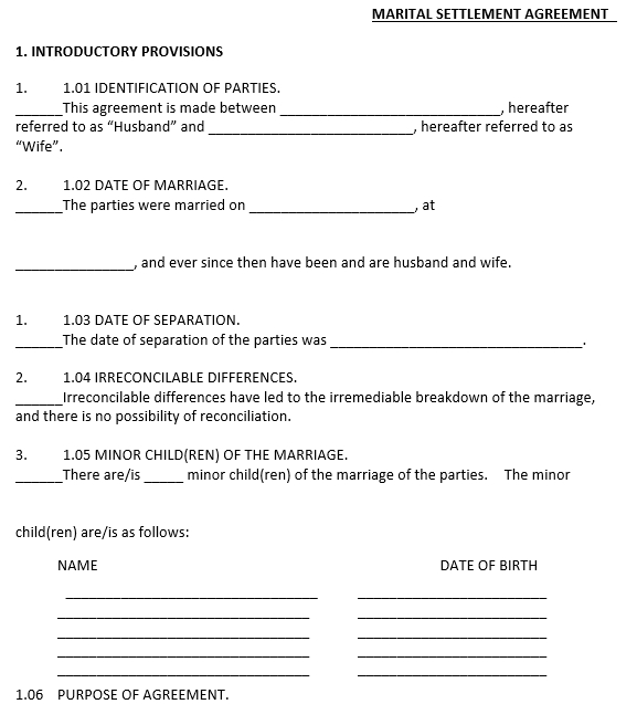 Marital Settlement Agreeement Template