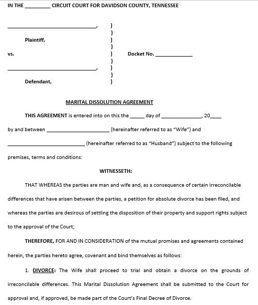 Martial Dissoluation Agreement Example