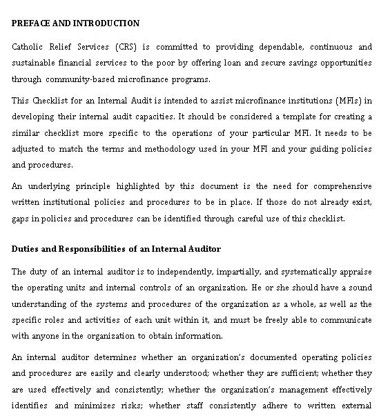 Microfinance Institutions Internal Audit Checklist Template