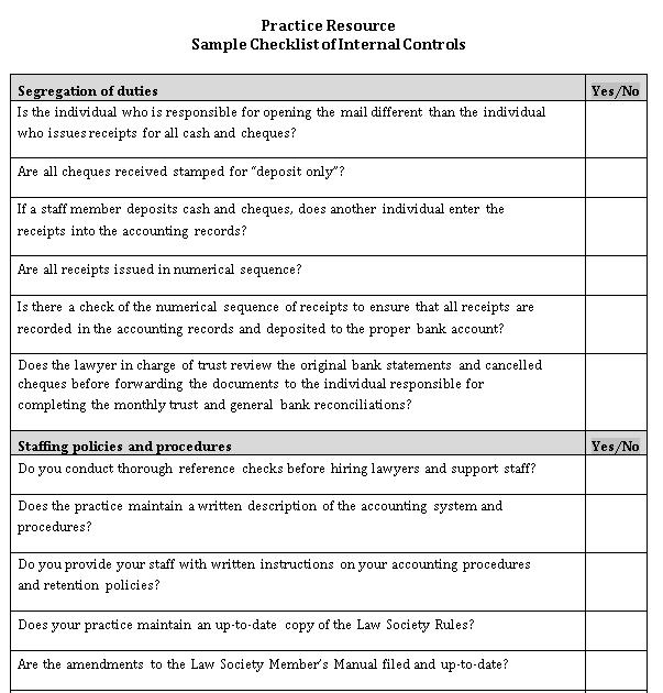 Model Checklist Template For Internal Controls