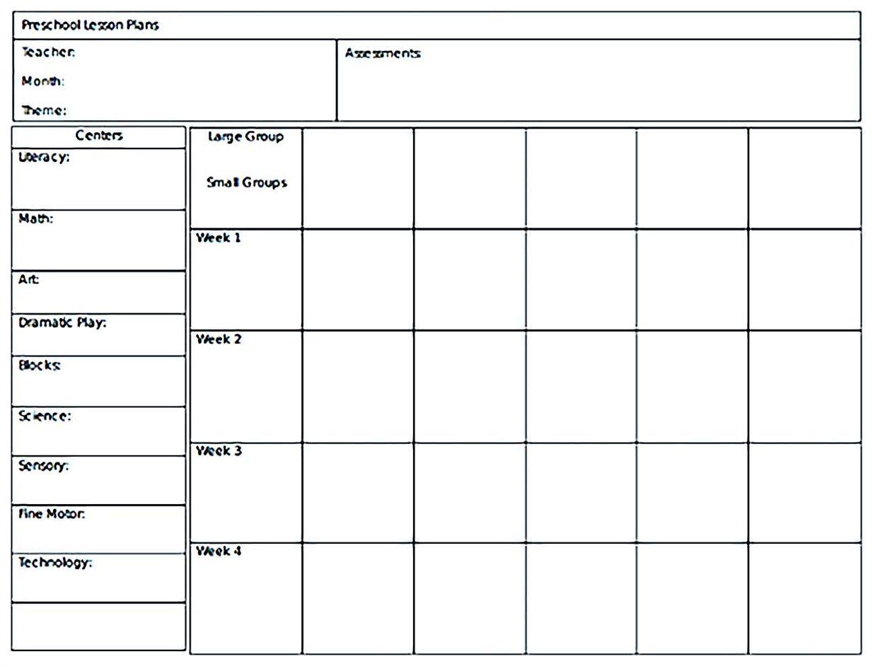 Monthly Preschool Lesson Plans