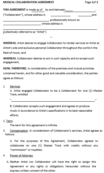 Music Collaboration Agreement