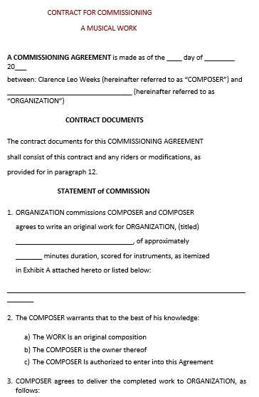 Musical Work Contract Commission Agreement Template