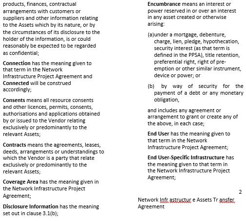 Network Infrastructure Asset Transfer Agreement
