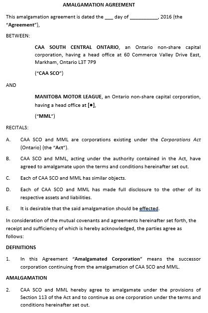 New Amalgamation Agreement Template