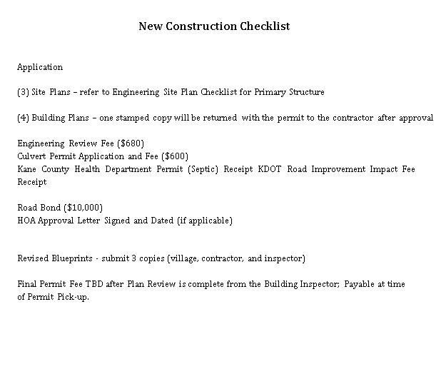 New Construction Checklist Template