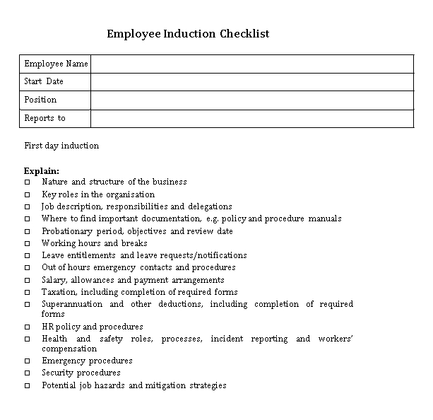 New Employee Induction Checklist