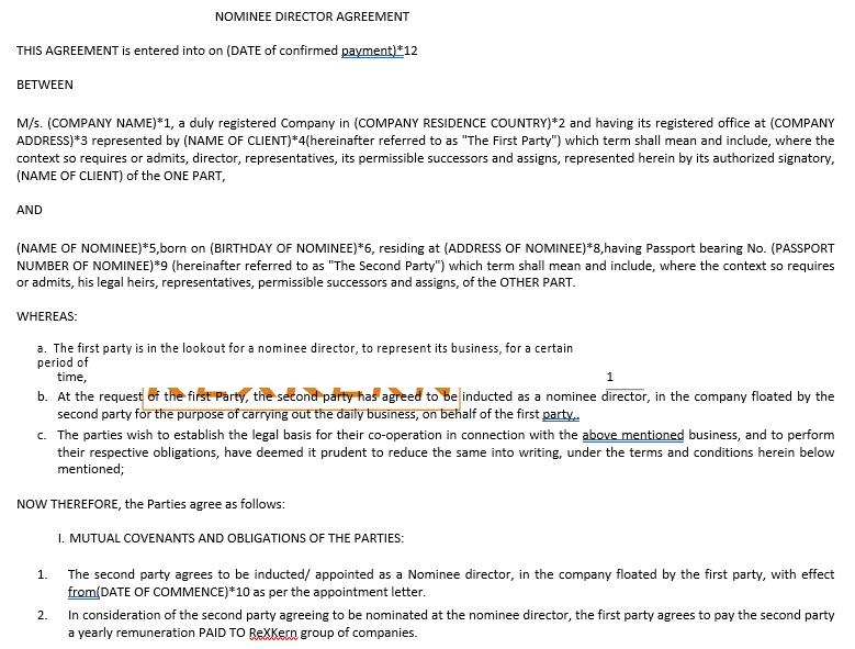 Nominee Director Agreement