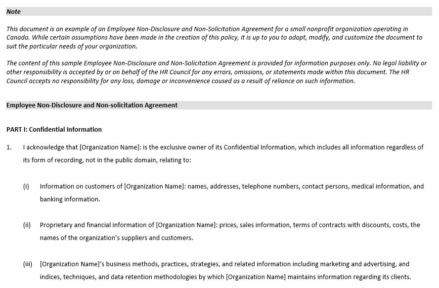 Non Disclosure Employee Agreement Document