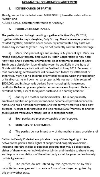 Non Marital Cohabitation Agreement Template