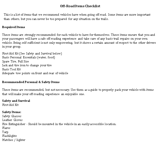 Off Road Items Checklist Template