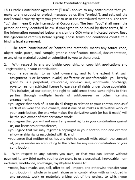 Oracle Contributor Agreement