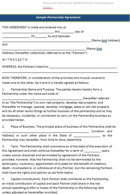 Partnership Agreement For Small Business