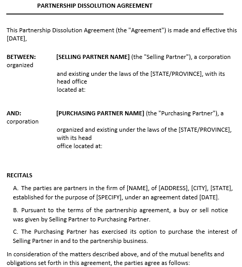 Partnership Dissoluation Agreement Example