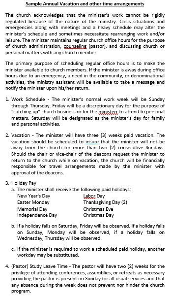 Pastor Compensation and Vacation Guidelines