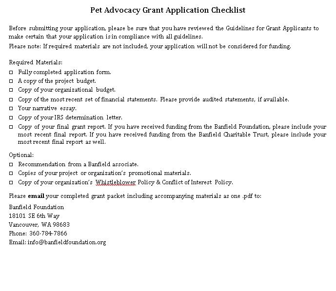 Pet Advocacy Grant Checklist Template