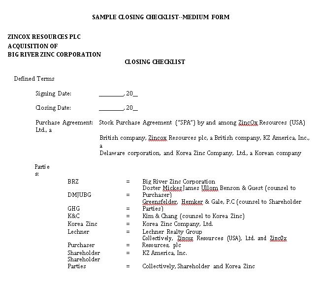 Practical Closing Checklist Template