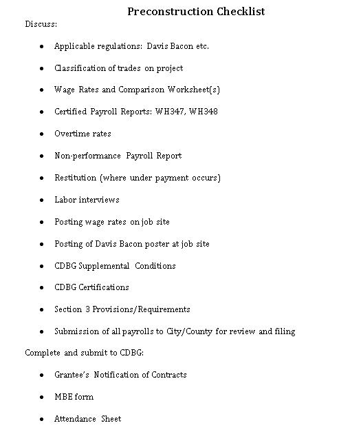 Pre Construction Checklist Template