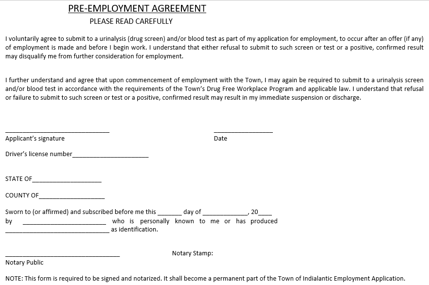 Pre Employment Agreement