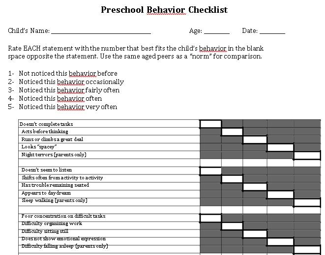 Preschool Behavior Checklist