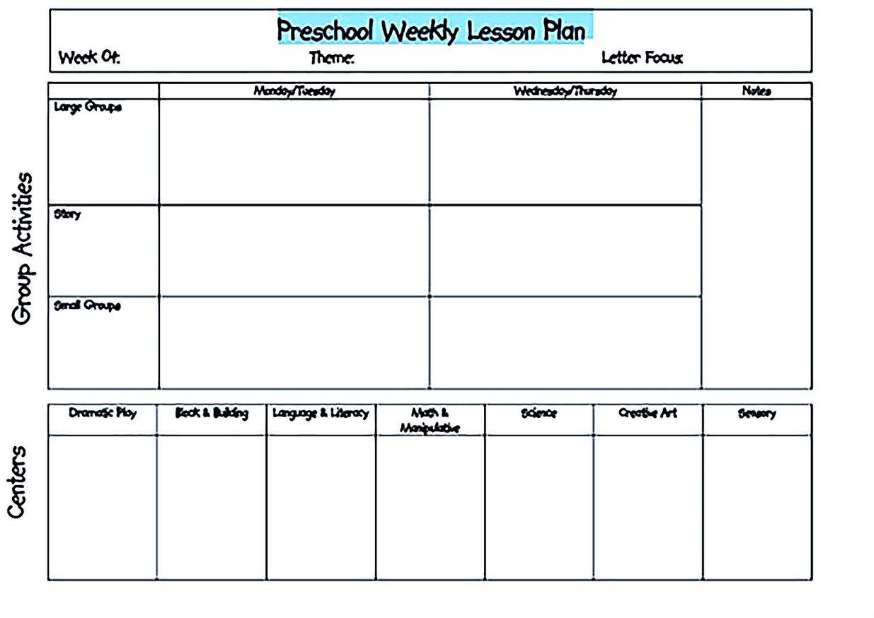 Preschool Weekly Blank Lesson Plan