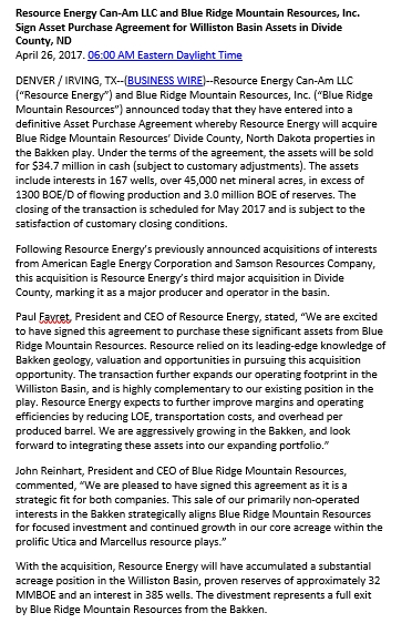 Press Release Asset Purchase Agreement